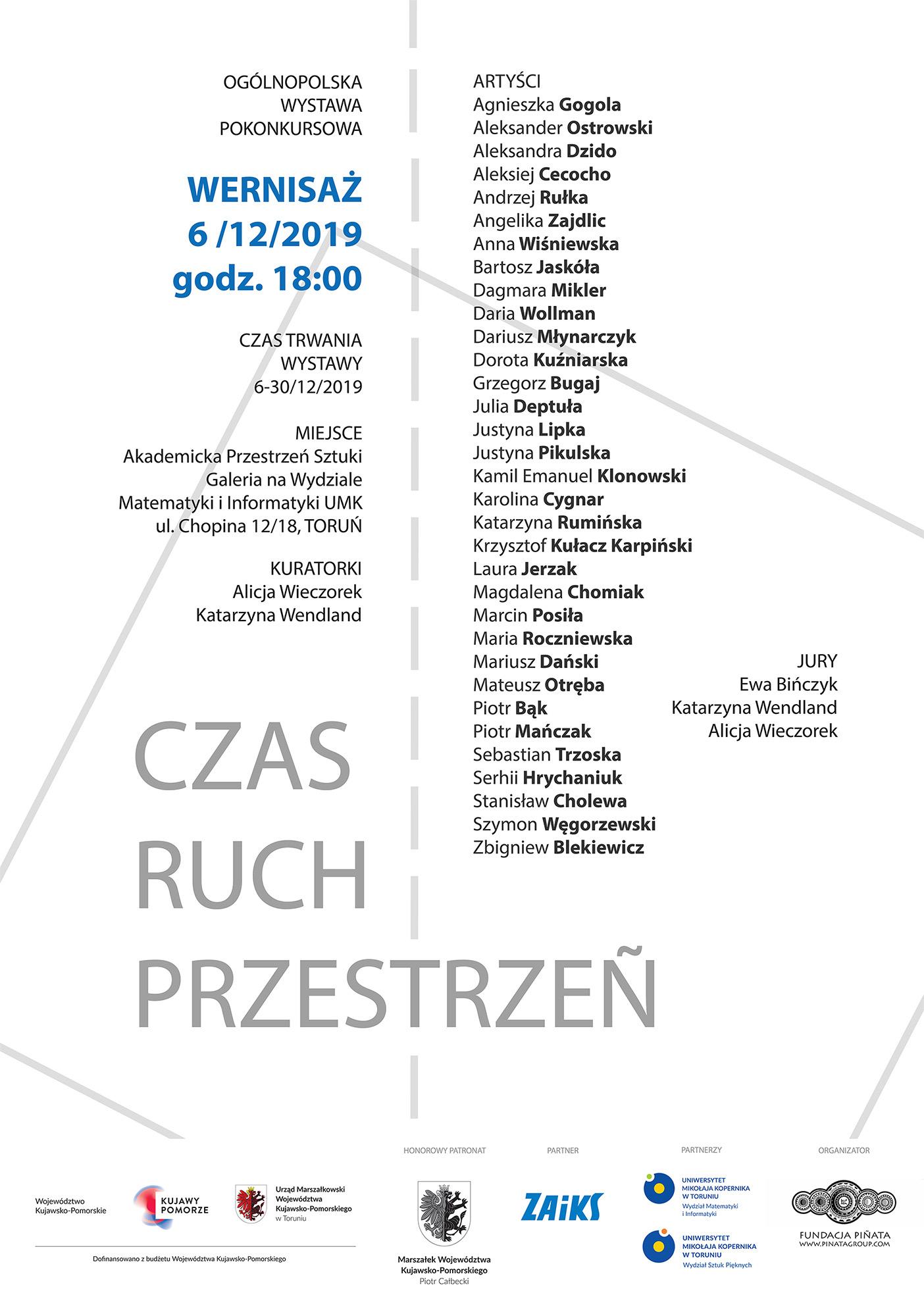 CZAS-RUCH-PRZESTRZEŃ – zaproszenie na wernisaż