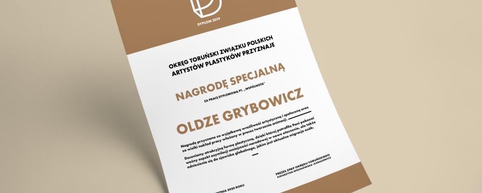 Nagroda Specjalna dla Pani Olgi Grybowicz za najlepszy dyplom artystyczny na Wydziale Sztuk Pięknych UMK w Toruniu