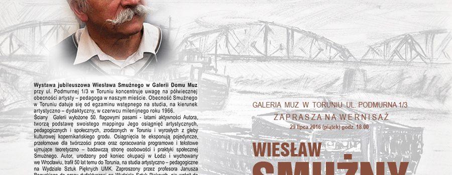 Zaproszenie na wernisaż wystawy jubileuszowej Wiesława Smużnego