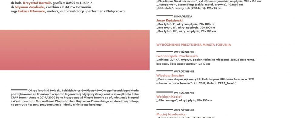Katalog wystawy: Dzieła ANNALE ZPAP Toruń 2019/20